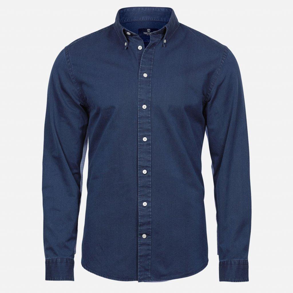 Modrá rifľová košeľa