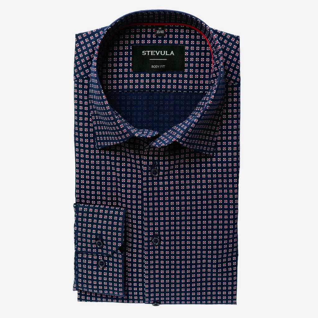 Tmavomodrá vzorovaná košeľa, Body fit