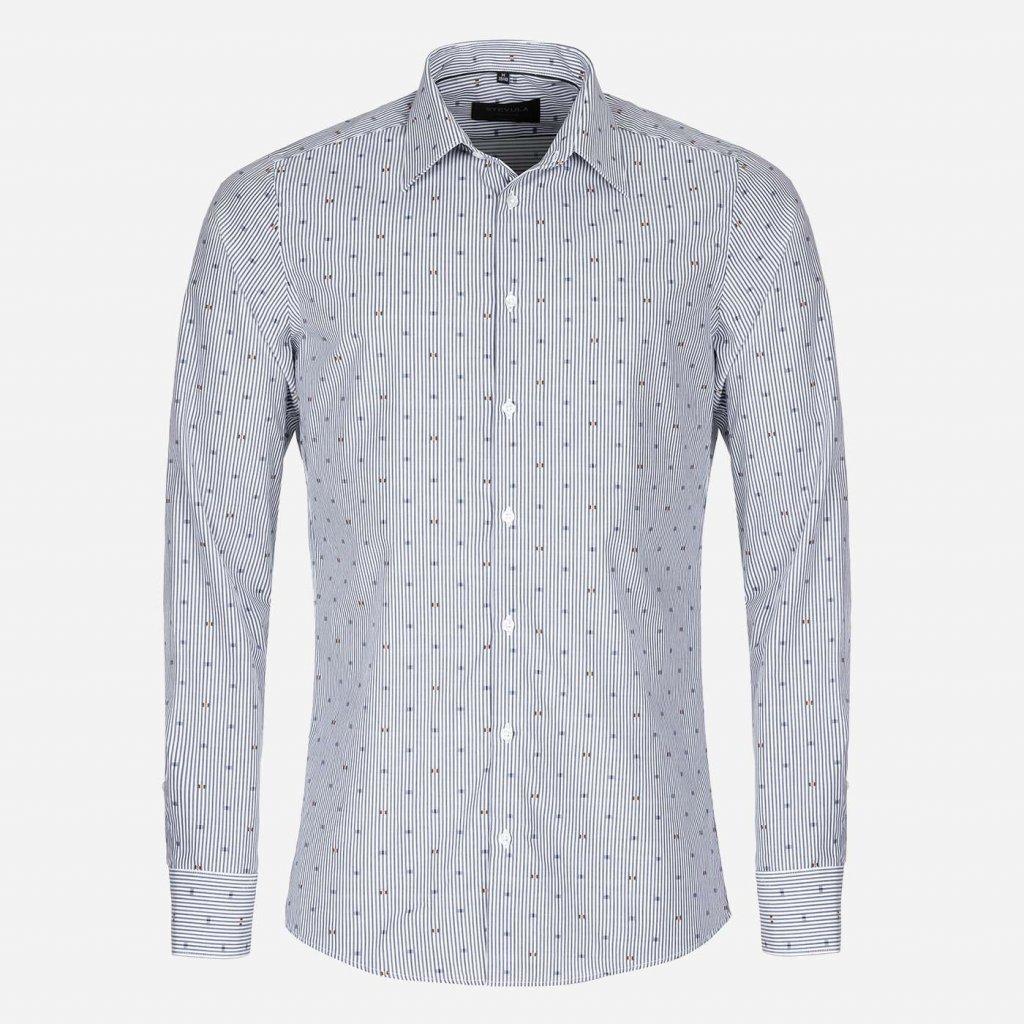 Modrá prúžkovaná košeľa s Fil Coupé, Slim fit