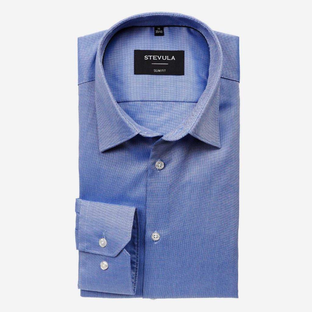 Modrá pánska košeľa so štruktúrou, Slim fit