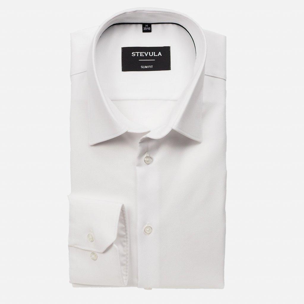 Biela pánska košeľa so štruktúrou, Slim fit