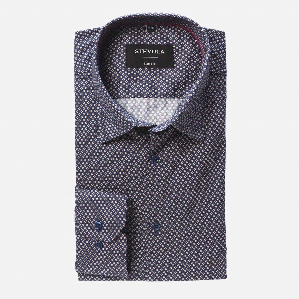 Tmavomodrá košeľa s guličkovým vzorom, Slim fit