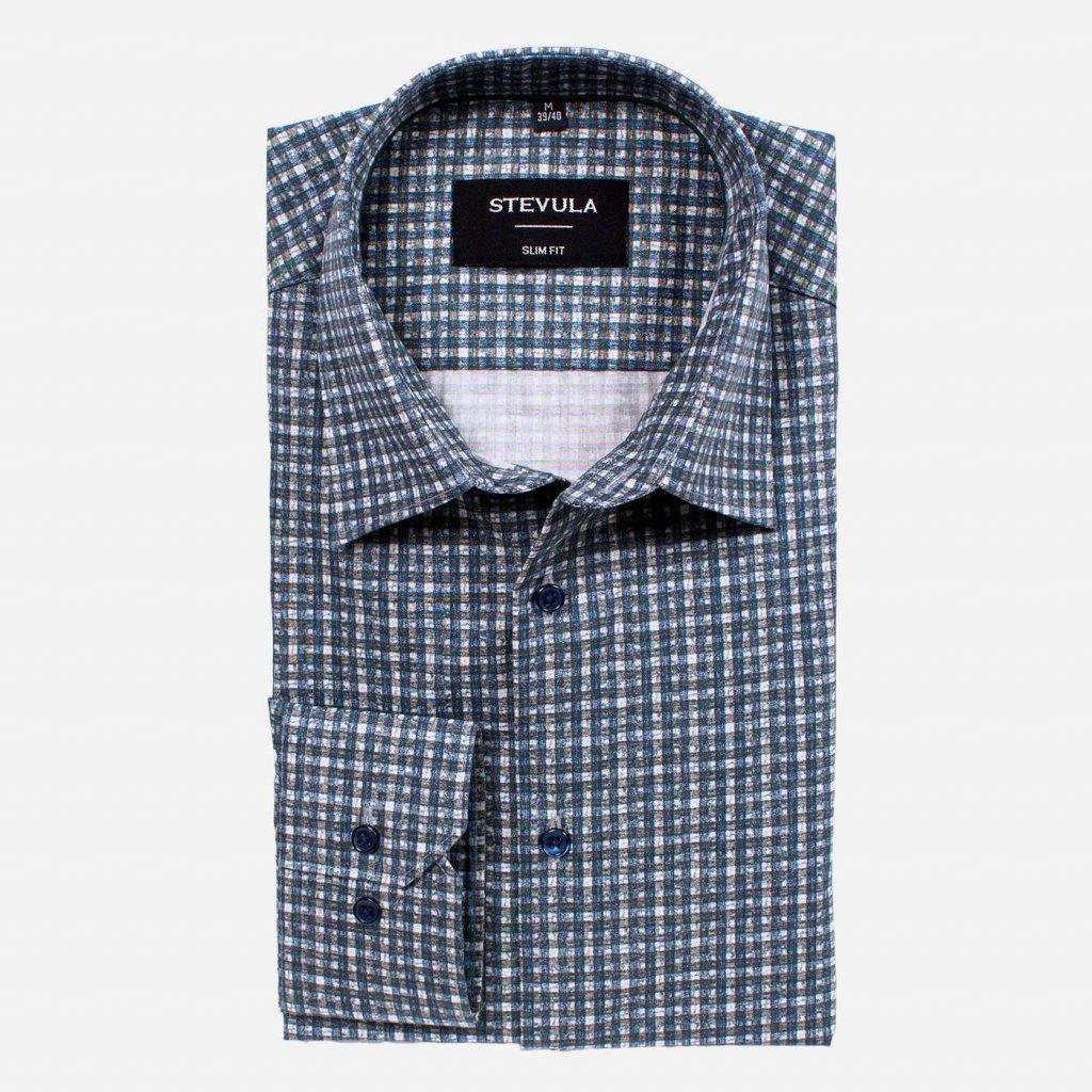 Kockovaná pánska košeľa, Slim fit