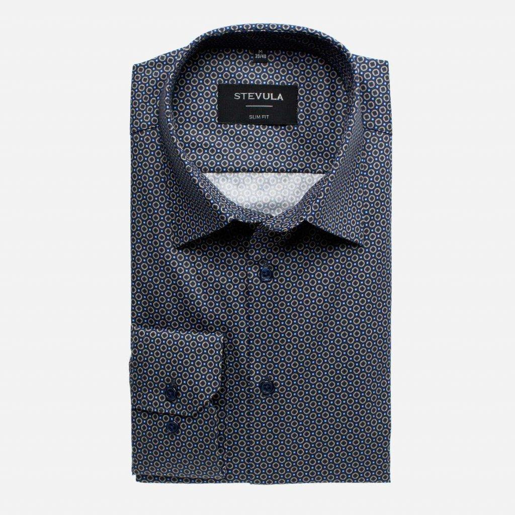 Tmavomodrá vzorovaná košeľa, Slim fit