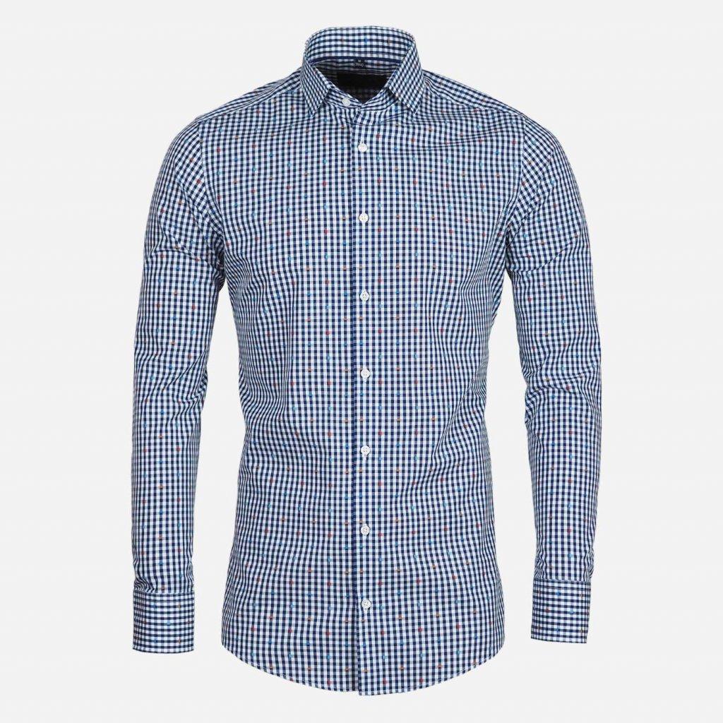 Kockovaná košeľa s Fil Coupé, Slim fit