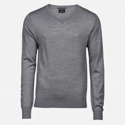 Svetlosivý merino sveter, V výstrih