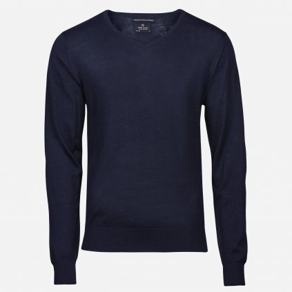 Tmavomodrý merino sveter, V výstrih