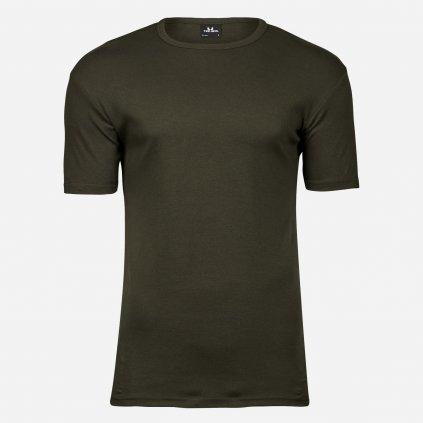 Olivové extra slim fit tričko