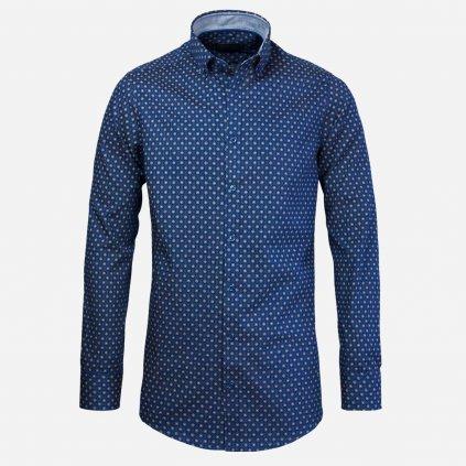 Tmavomodrá pánska košeľa so vzorom, Slim fit