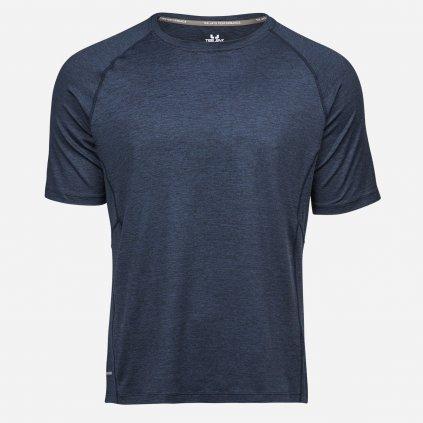 Modré melírované tričko na šport