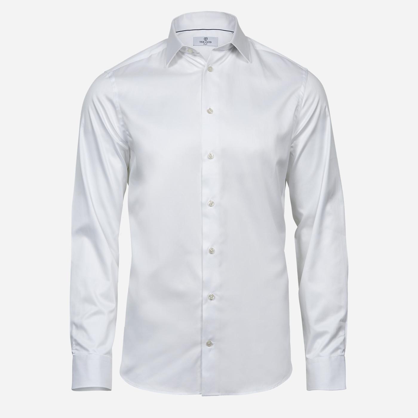 Biela pánska košeľa Tee Jays, Slim fit Veľkosť: L 41/42