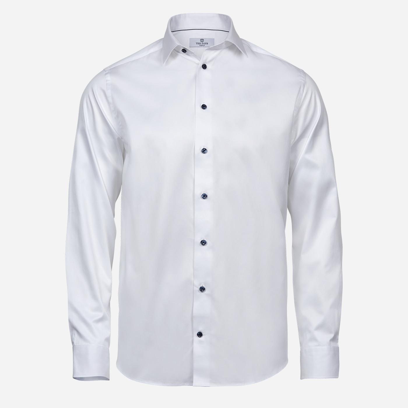 Biela košeľa Tee Jays, modré gombíky, Regular fit Veľkosť: XXL 45/46
