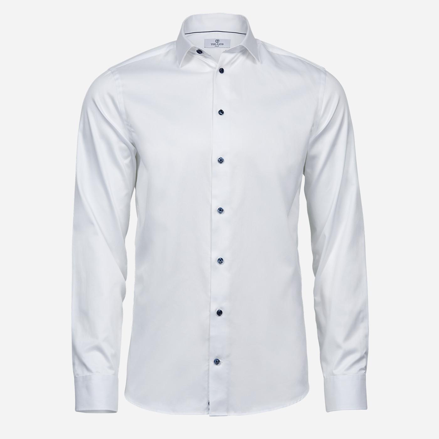 Biela košeľa Tee Jays, modré gombíky, Slim fit Veľkosť: XXL 45/46