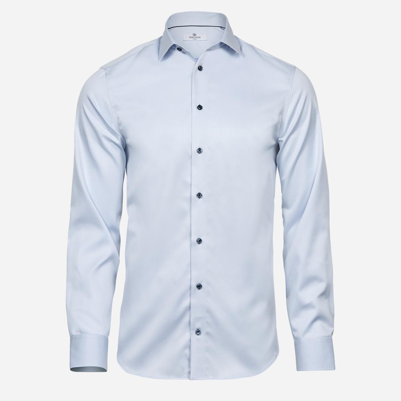 Svetlomodrá košeľa Tee Jays, modré gombíky, Slim fit Veľkosť: XXL 45/46