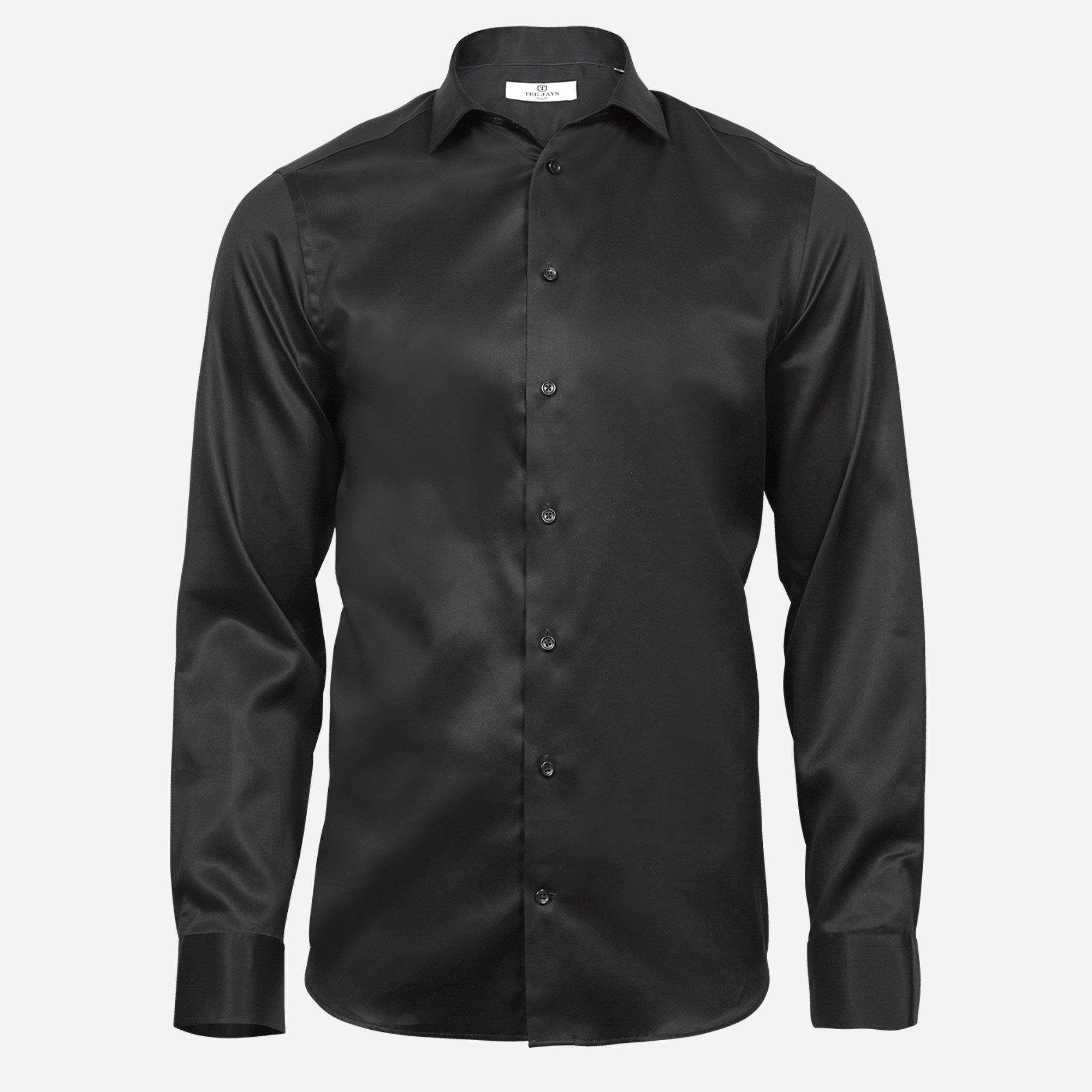Čierna košeľa Tee Jays, 2-ply, Slim fit Veľkosť: XXL 45/46