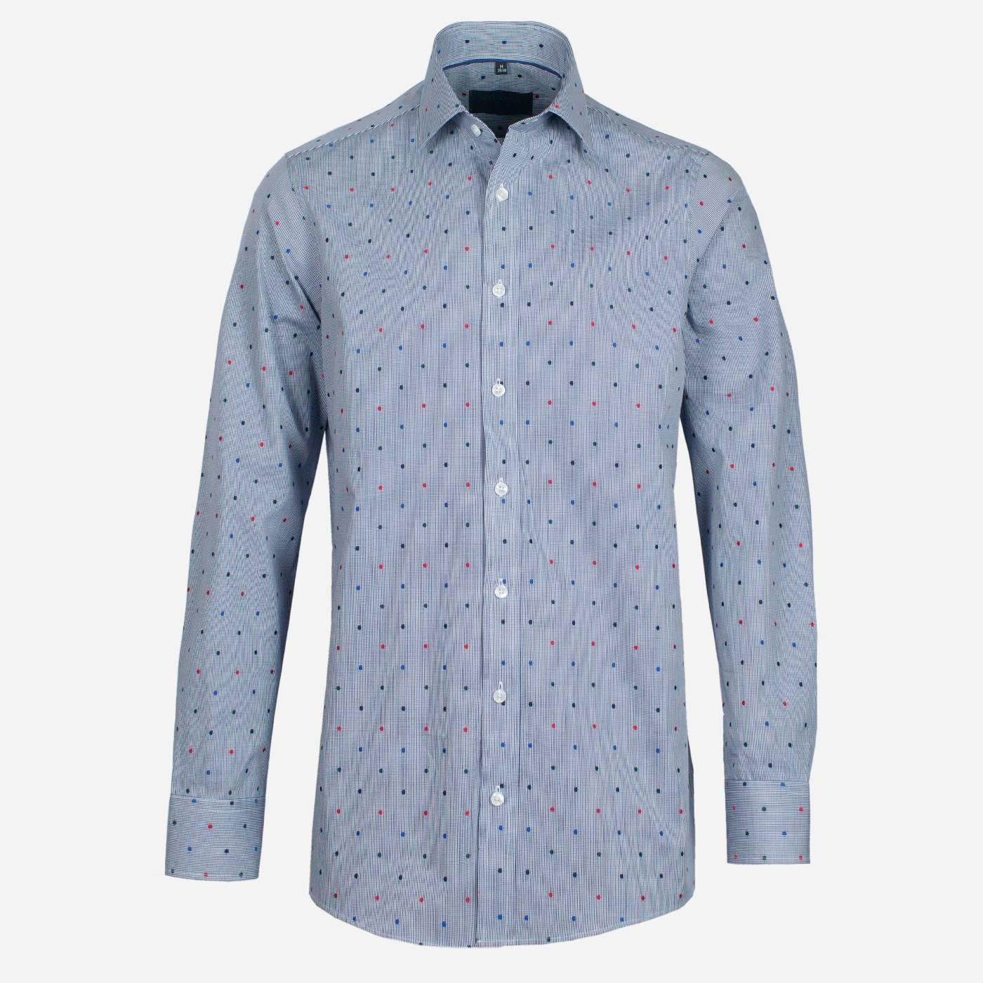 STEVULA Modrá kockovaná košeľa s Fil Coupé, Regular fit Veľkosť: XXL 45/46