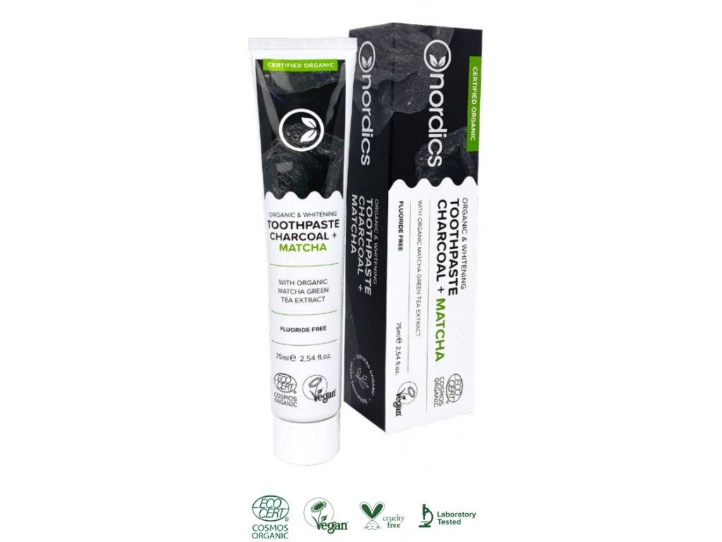 Nordics Bio bělicí zubní pasta s aktivním uhlím a matchou