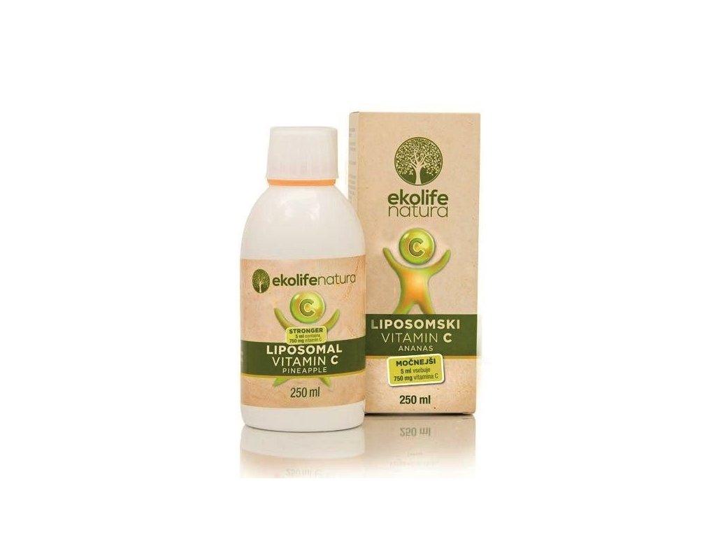 Ekolife Natura Liposomal Vitamin C 750mg, 250ml ananas (Lipozomální vitamín C)