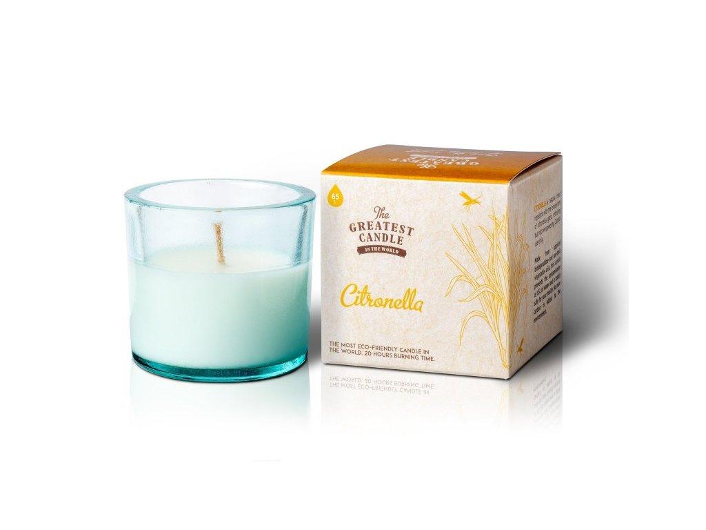 The Greatest Candle Vonná svíčka ve skle - citronela, 75g - repelentní svíčka odpuzující hmyz