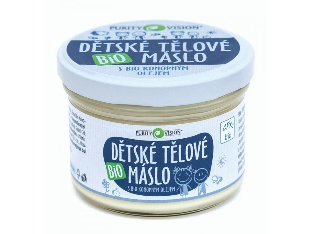 Purity Vision Dětské tělové máslo pro citlivou a problematickou pokožku, zcela přírodní kosmetika