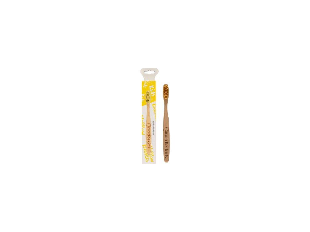 Nordics Dětský bambusový kartáček žlutý