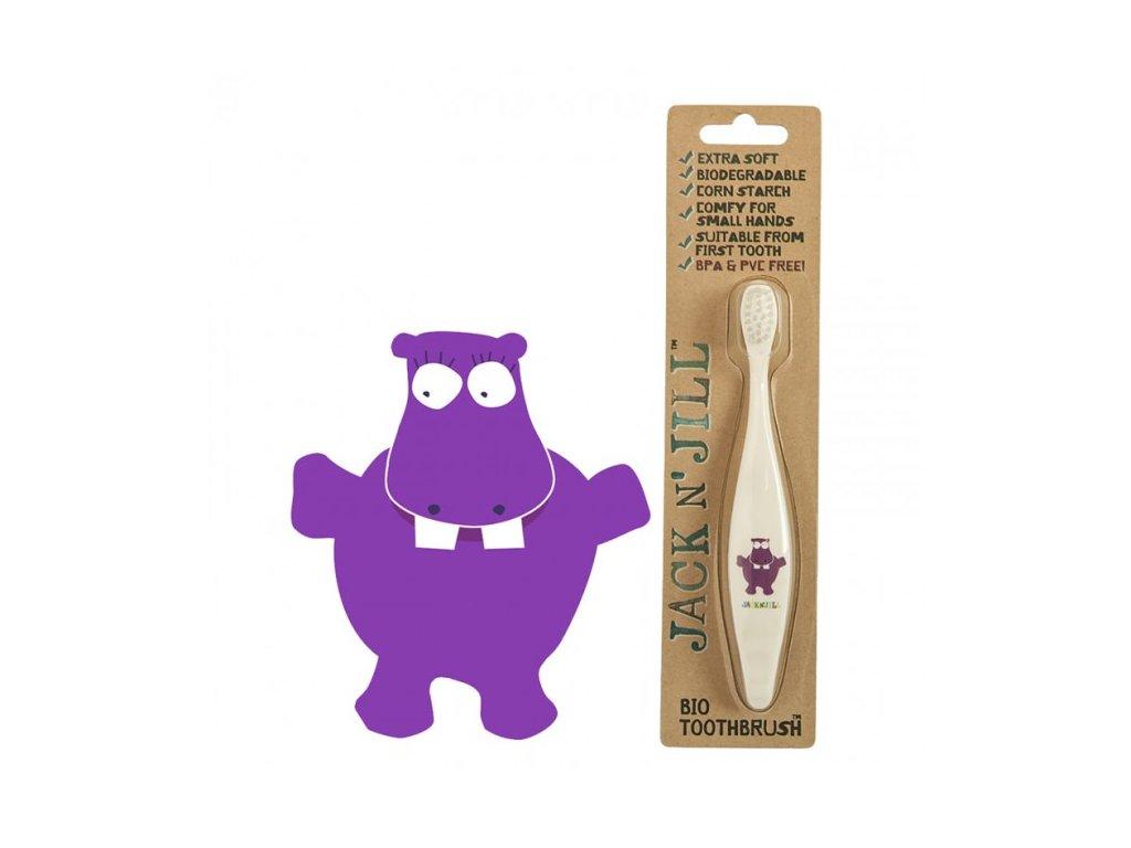 Jack n' Jill Dětský zubní kartáček hrošík
