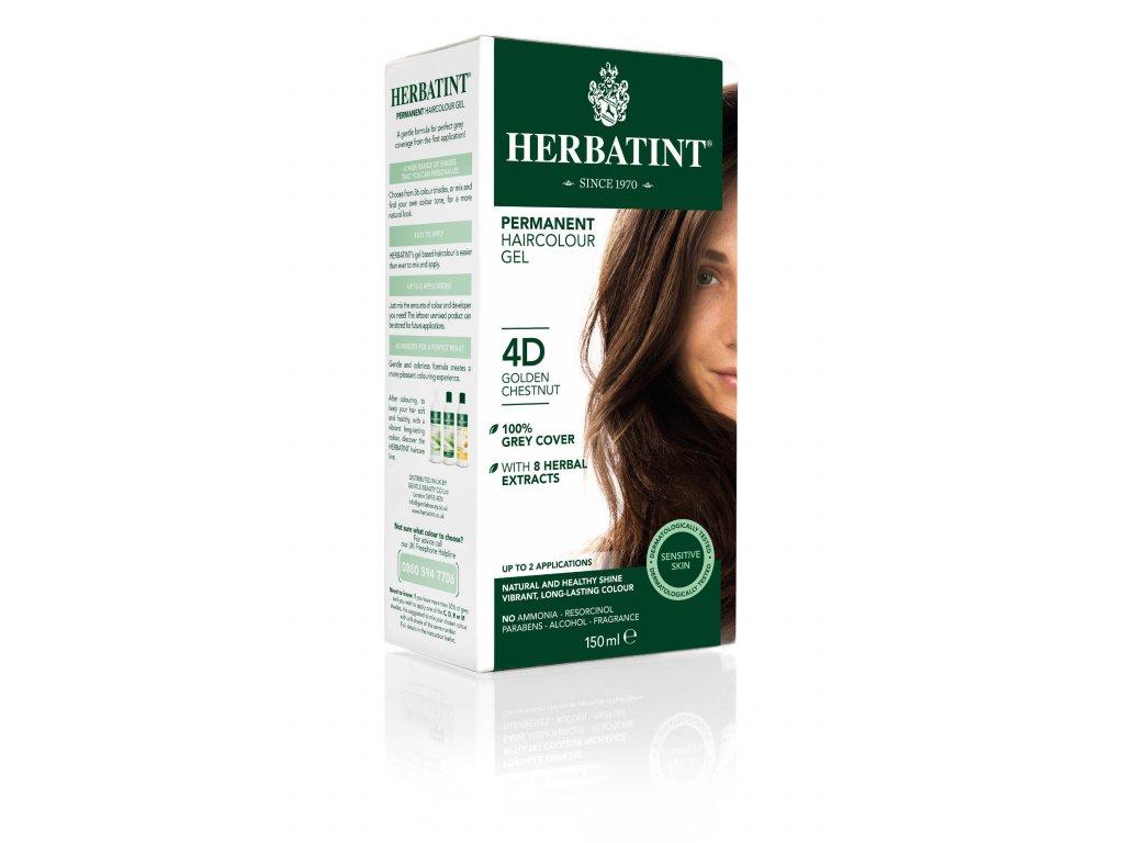 Herbatint permanentní barva na vlasy zlatavý kaštan 4D