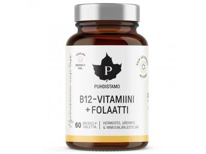 Puhdistamo Vitamin B12 Folate, 60 pastilek malina (Vitamín B12 s folátem Quatrefolic®)