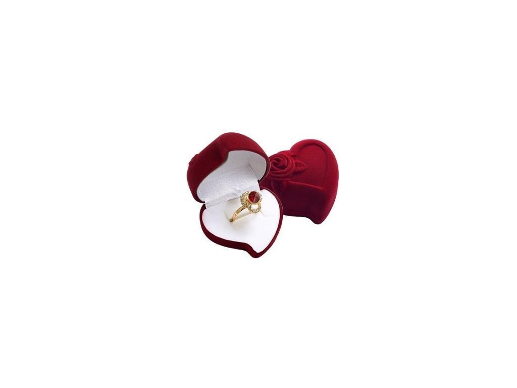 Sametová krabička srdce Bordó