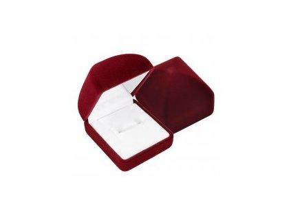 8261 zamatova obdlznikova krabicka na prsten tmavocervena farba