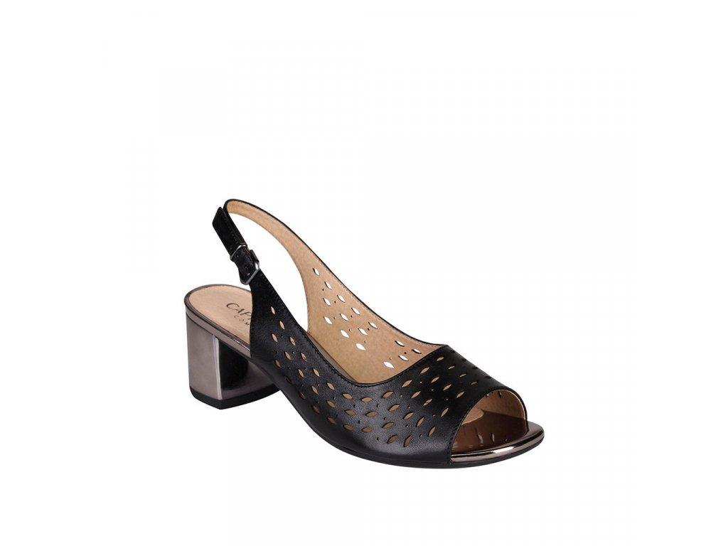 Dámské kožené sandály CAPRICE černé šíře H
