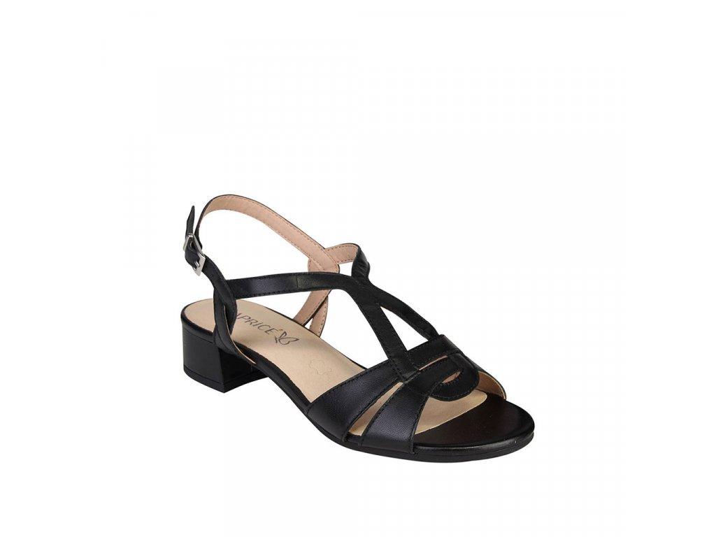 Dámské kožené sandály CAPRICE s nártovým T-páskem černé