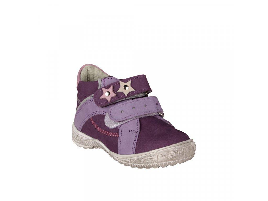 Dívčí celoroční kožené kotníky ESSI fialové