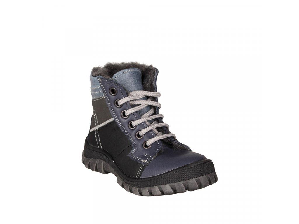 Chlapecká kožená zimní obuv na šněrování ESSI modrá vel. 23 - 26