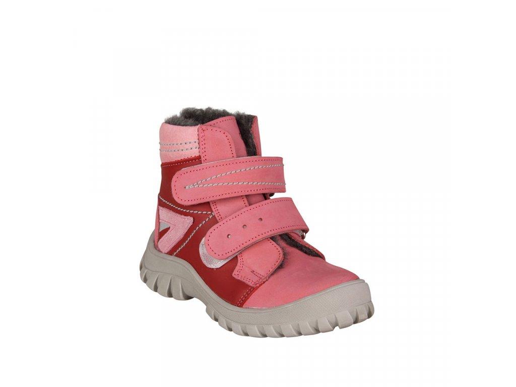 Červená kotníková kožená obuv s kožíškem ESSI vel. 27 - 30