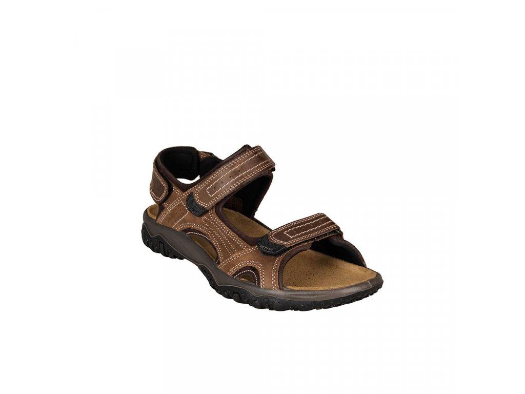 Pánské hnědé kožené sportovně-vycházkové sandály na suchý zip IMAC