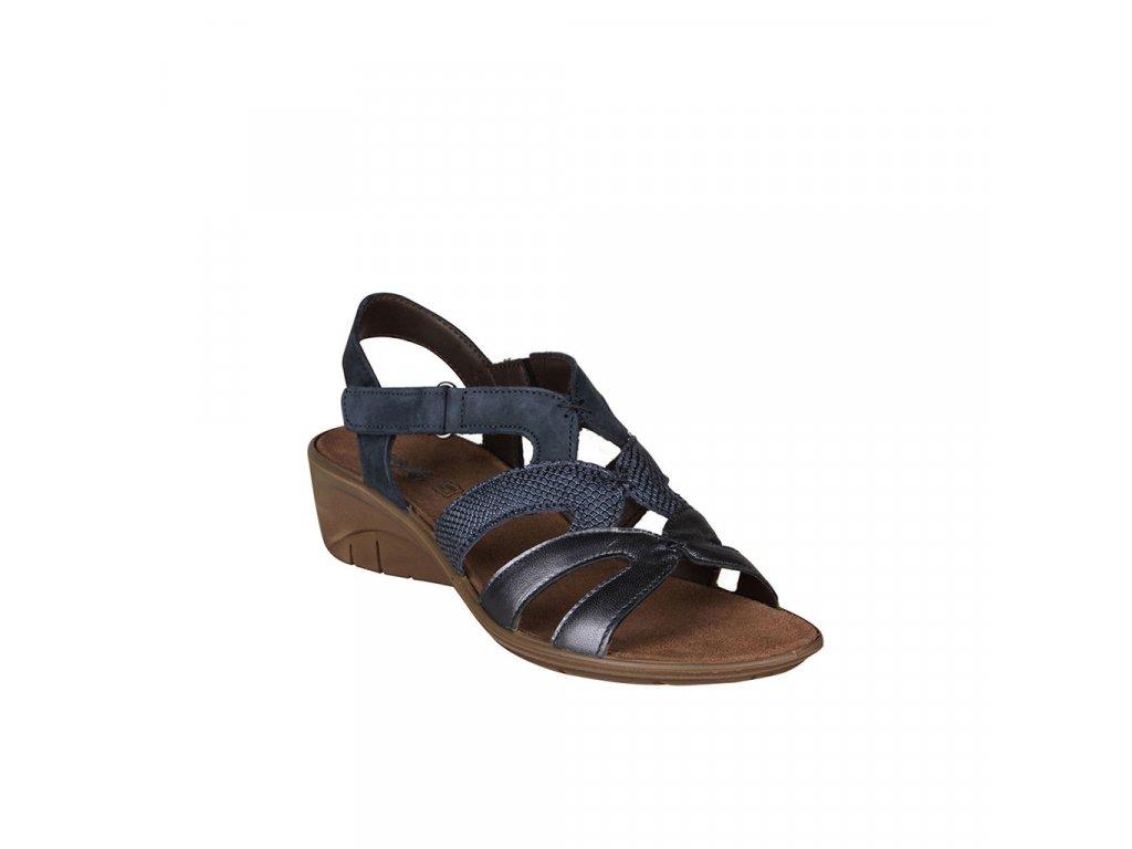 Dámské modré kožené sandály na klínku IMAC