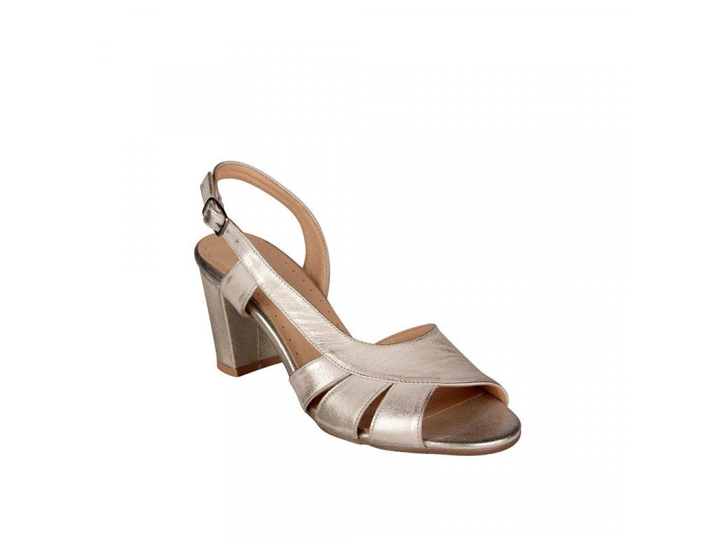 Dámské stříbrné kožené sandály na vyšším podpatku STIVAL