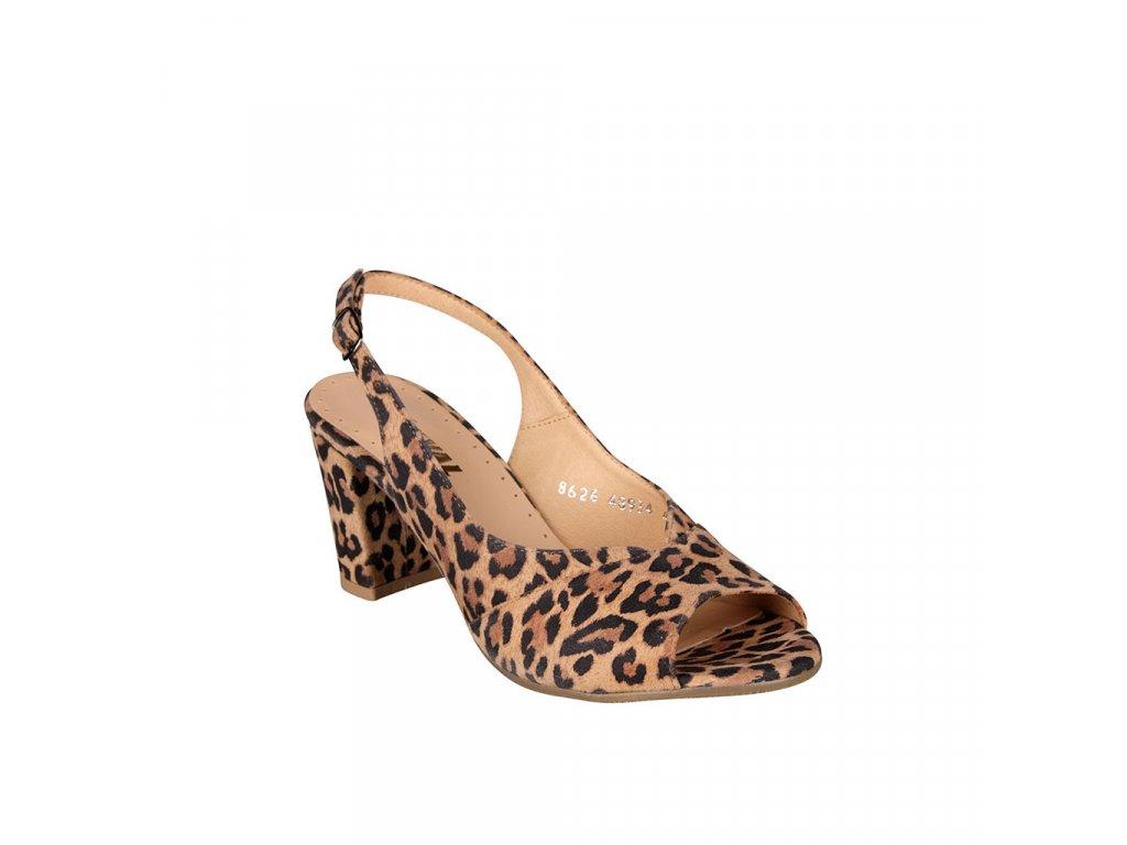 Dámské kožené sandály na vyšším podpatku s otevřenou špicí STIVAL gepard