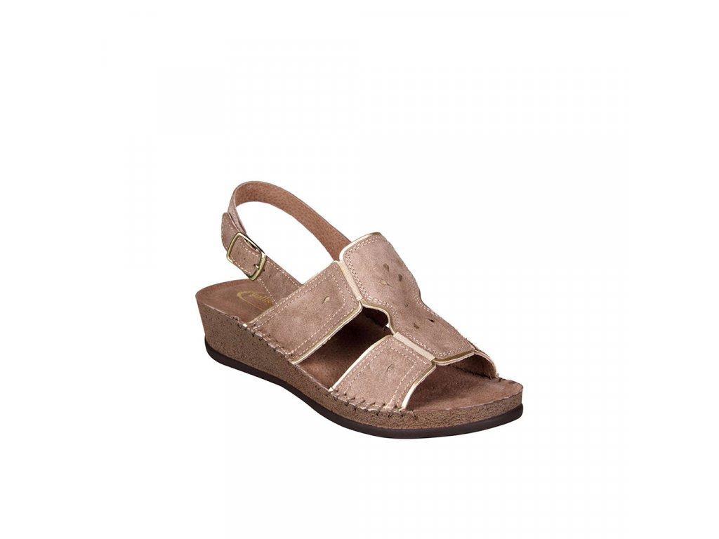 Dámské kožené sandály na mírném klínku v hnědé barvě ARIANNA