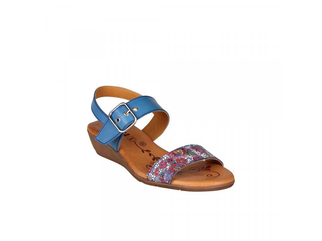 Dámské modré kožené sandály na klínku s vyměkčenou stélkou STIVAL