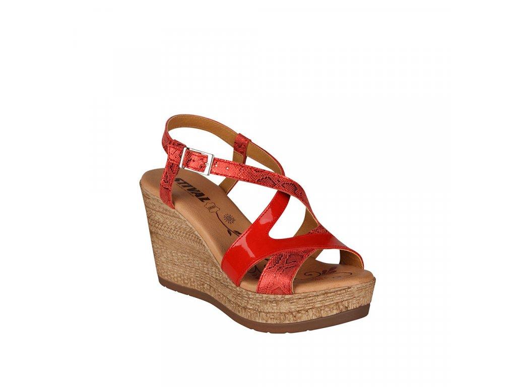 Dámské červené kožené sandály na vysokém klínku s vyměkčenou stélkou STIVAL
