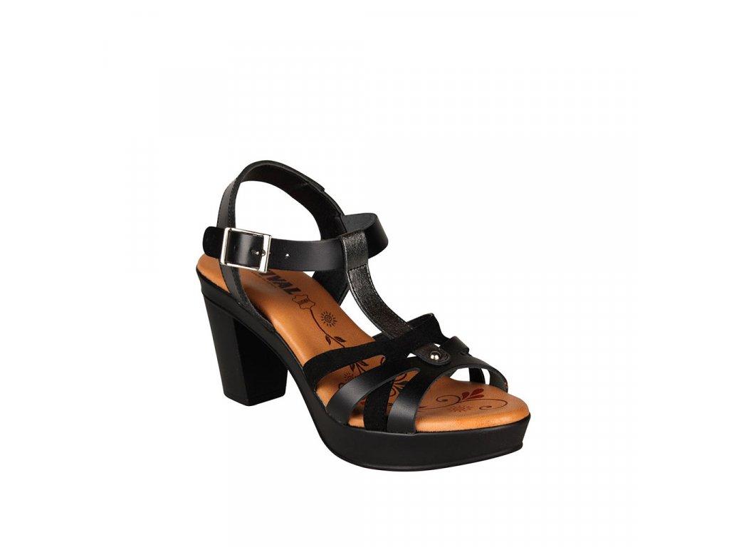 Dámské černé kožené sandály na vysokém podpatku s vyměkčenou stélkou STIVAL