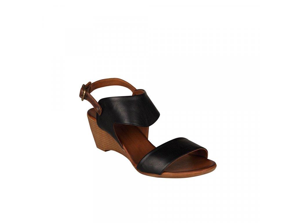 Dámské černé kožené sandály na klínku BUENO