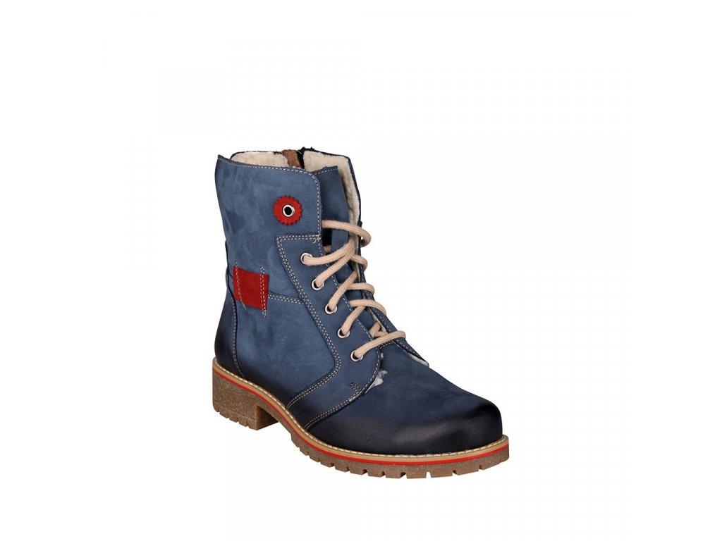 Dámská kožená kotníková obuv s beránkem v modré barvě STIVAL