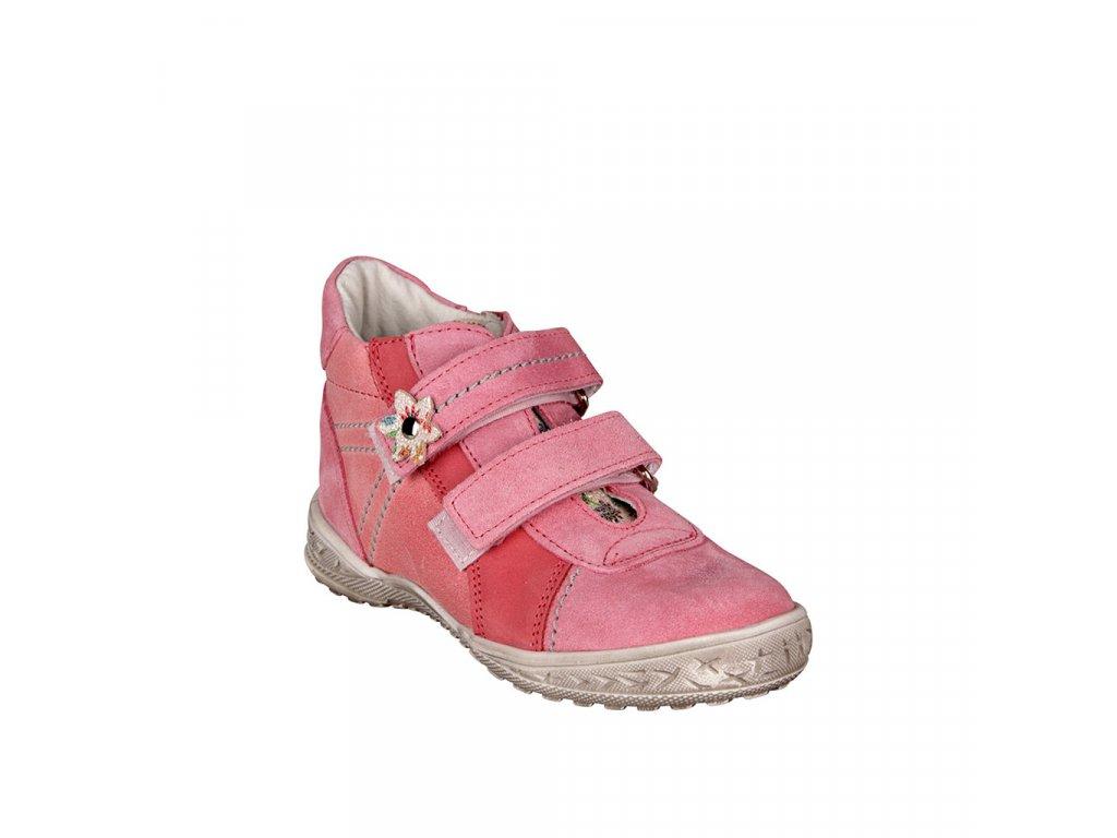Dětské kožené kotníky na suchý zip ESSI růžové
