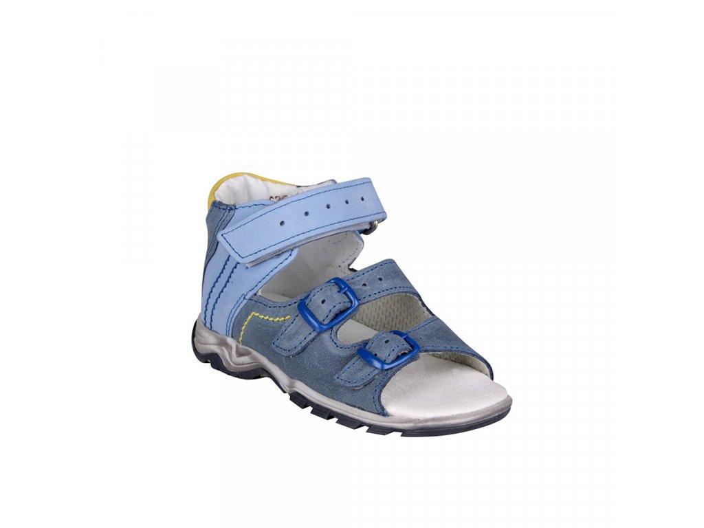 Dětské kožené sandálky vel.24-26 s pevným opatkem a zapínáním na 3 pásky ESSI