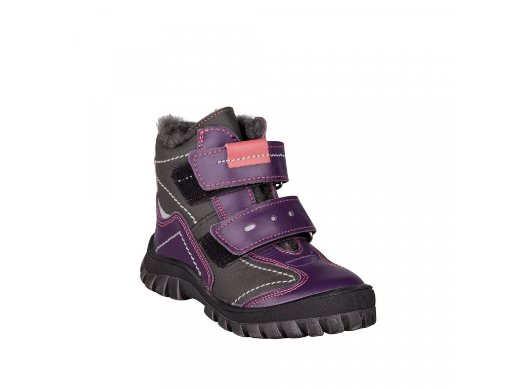 Dívčí kožné kožené kotníky na suché zipy ESSI fialové