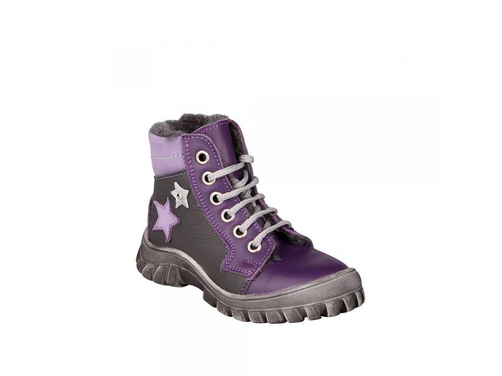 Dívčí kožená zimní obuv s kožíškem ESSI vel. 23 - 26