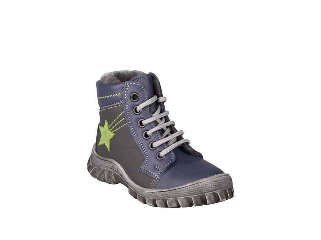 Chlapecká zimní šněrovací obuv kožená ESSI modrá vel. 23 - 26